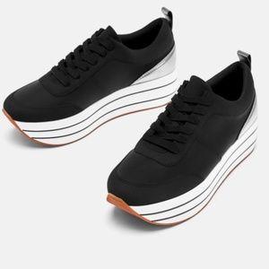 ZARA Black Metallic Platform Sneaker SIZE 7.5/38